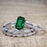 Bestselling 1.50 Carat emerald cut Emerald and Diamond Trio Wedding Ring Set in White Gold
