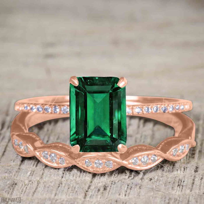 Vintage design 1.25 Carat emerald cut Emerald and Diamond Wedding Set for Women in Rose Gold