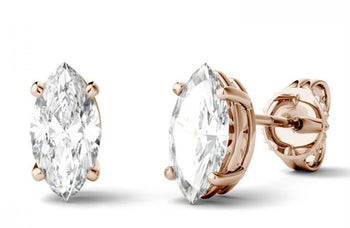 4 Prong 2 Carat Marquise Cut Moissanite Solitaire Stud Earrings in Rose Gold