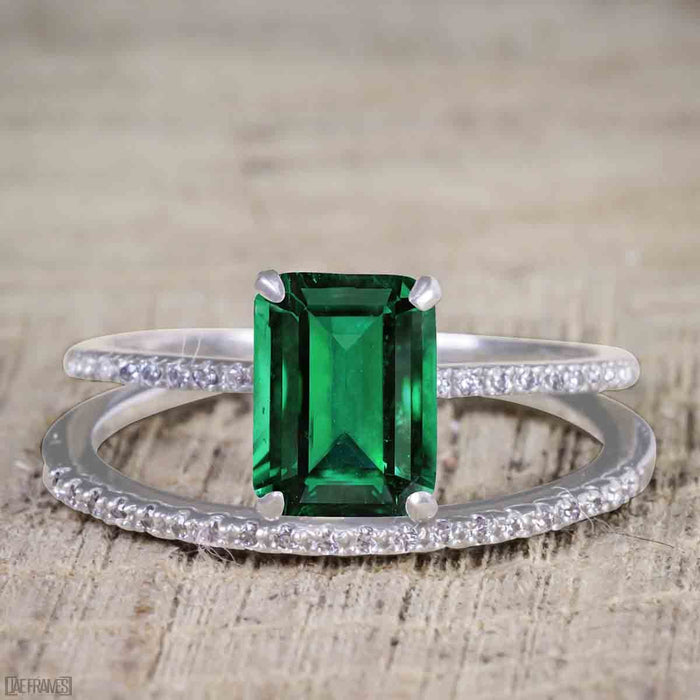 Unique 1.25 Carat emerald cut Emerald and Diamond Bridal Set with semi eternity band in White Gold