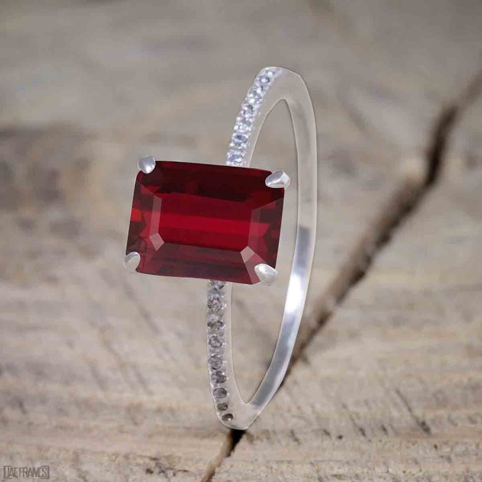 Beautiful 1 Carat Ruby cut Ruby Solitaire Engagement Ring for Women in White Gold