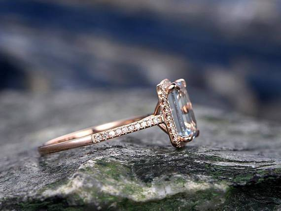 Perfect 1.50 Carat Emerald Cut Aquamarine and Diamond Halo Engagement Ring in Rose Gold