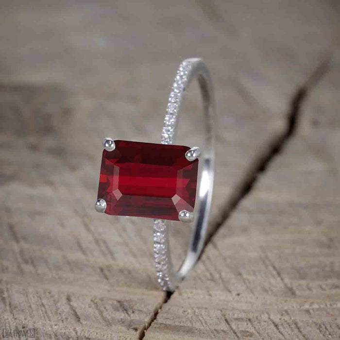 1.50 Carat Ruby cut Ruby and Diamond Trio Wedding Ring Set for Women in White Gold