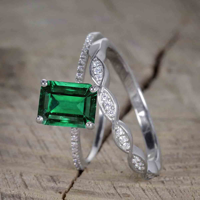 1.50 Carat emerald cut Emerald and Diamond Trio Wedding Ring Set for Women in White Gold