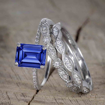Unique 1.50 Carat Emerald Cut Sapphire and Diamond Trio Wedding Ring Set in White Gold for Her