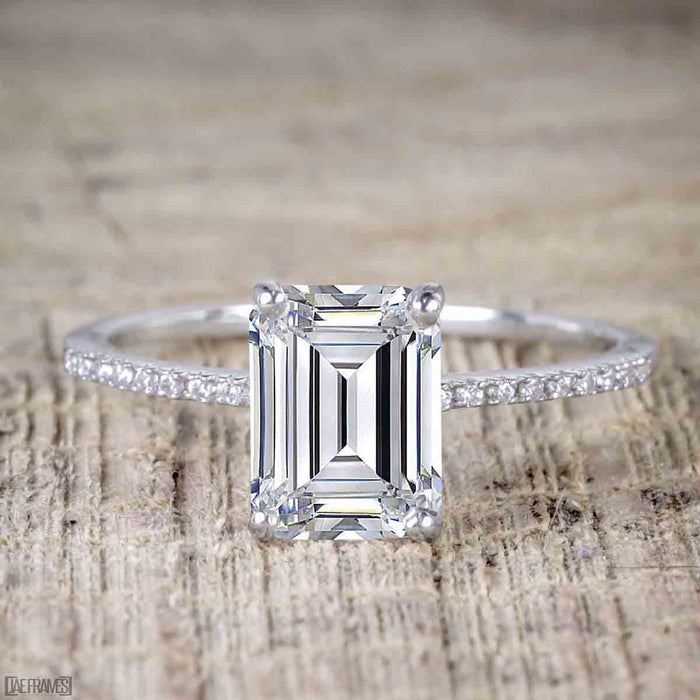 1.25 Carat Emerald Cut Moissanite and Diamond Solitaire Engagement Ring in White Gold