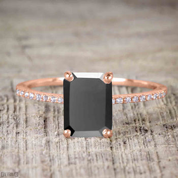 1.25 Carat Emerald Cut Black Diamond Solitaire Engagement Ring in Rose Gold