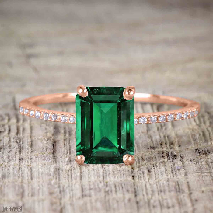1.50 Carat emerald cut Emerald and Diamond Solitaire Trio Wedding Bridal Ring Set in Rose Gold