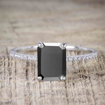 Perfect 1.25 Carat Emerald Cut Black Diamond Engagement Ring in White Gold