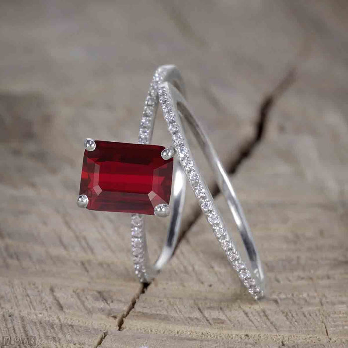 Unique 1.50 Carat Ruby cut Ruby and Diamond Trio Wedding Ring Set in White Gold for Her