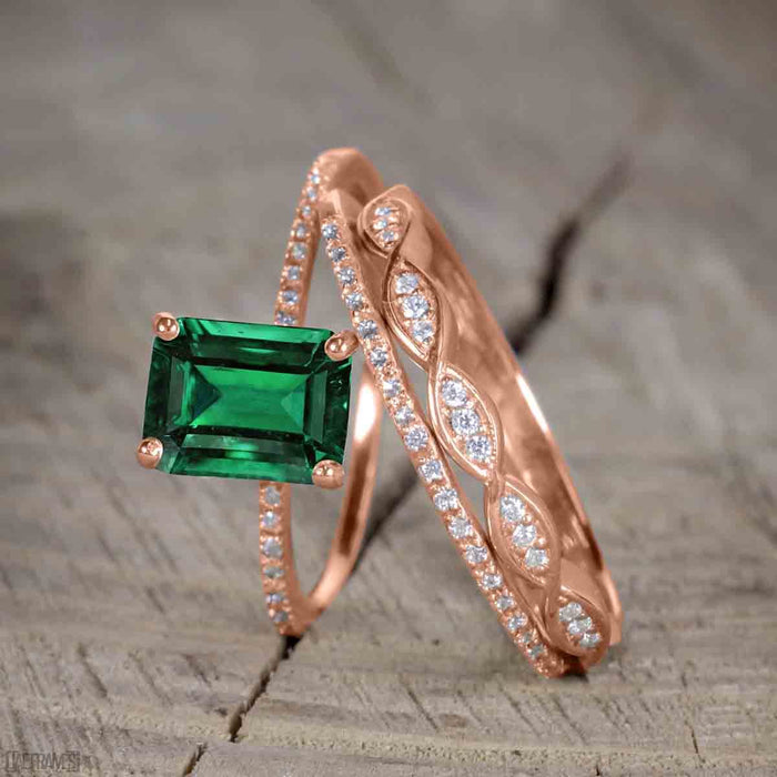 1.50 Carat emerald cut Emerald and Diamond Trio Wedding Ring Set for Women in Rose Gold