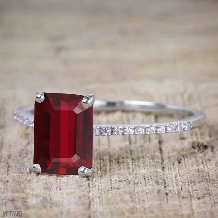 1 Carat Ruby cut Ruby Solitaire Engagement Ring in White Gold
