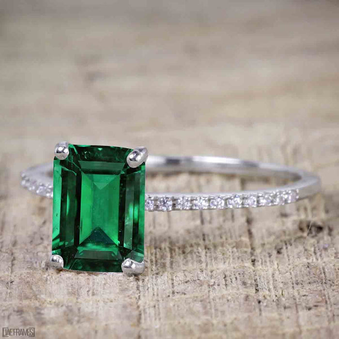 1 Carat Emerald Cut Emerald Solitaire Engagement Ring in White Gold