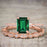Artdeco 1.50 Carat emerald cut Emerald and Diamond Trio Wedding Bridal Ring Set Rose Gold