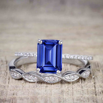 1.25 Carat Emerald Cut Sapphire and Diamond Wedding Ring Set in White Gold