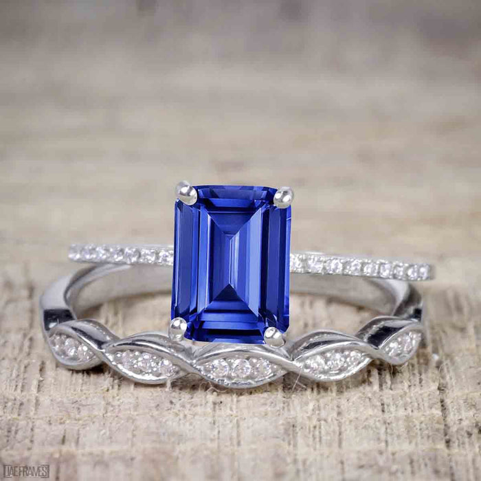 1.50 Carat Emerald Cut Sapphire and Diamond Solitaire Trio Wedding Bridal Ring Set in White Gold