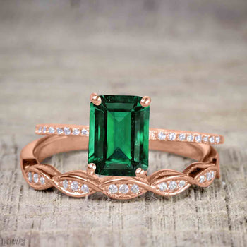 1.5 Carat Emerald Cut Emerald and Diamond Wedding Ring Set in Rose Gold