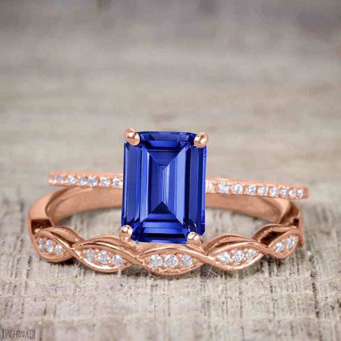 1.25 Carat Emerald Cut Sapphire and Diamond Wedding Ring Set in Rose Gold