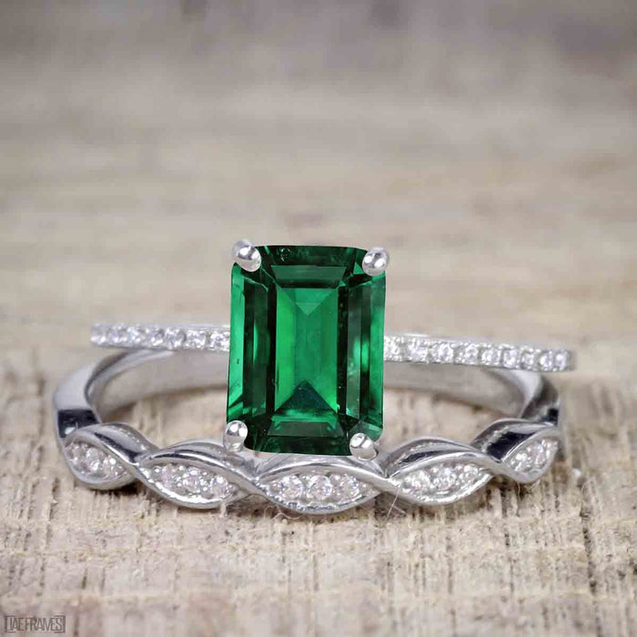 1.50 Carat emerald cut Emerald and Diamond Solitaire Trio Wedding Bridal Ring Set in White Gold