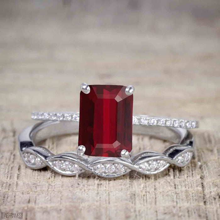 1.25 Carat Ruby cut Ruby and Diamond Wedding Ring Set in White Gold
