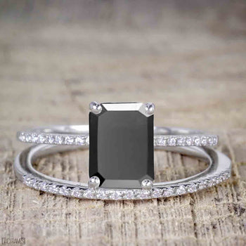 Perfect 1.50 Carat Emerald Cut Black Diamond Bridal Ring Set in White Gold