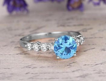 Perfect 1.25 Carat Round Cut Aquamarine and Diamond Engagement Ring in White Gold