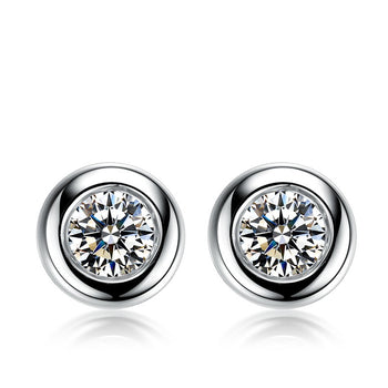 .50 Carat Round Cut Diamond Bezel Stud Earrings in White Gold