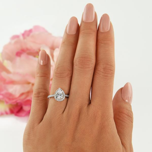 1.5 Carat Pear Cut Halo Engagement Ring in White Gold over Sterling Silver