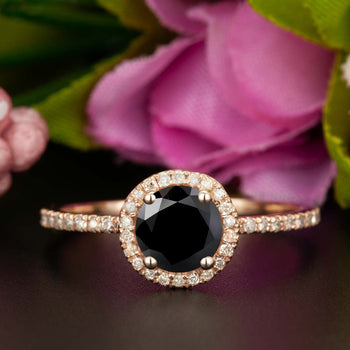1.25 Carat Round Cut Halo Black Diamond and Diamond Engagement Ring in Rose Gold