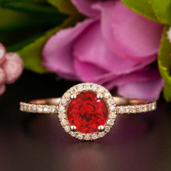 1.25 Carat Round Cut Halo Ruby and Diamond Engagement Ring in 9k Rose Gold