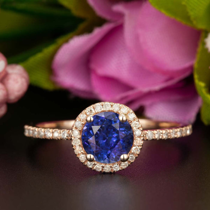 1.25 Carat Round Cut Halo Sapphire and Diamond Engagement Ring in Rose Gold