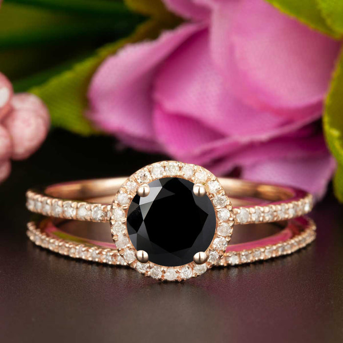 1.5 Carat Round Cut Halo Black Diamond and Diamond Wedding Ring Set in 9k Rose Gold
