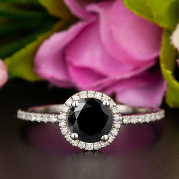 1.25 Carat Round Cut Halo Black Diamond and Diamond Engagement Ring in White Gold