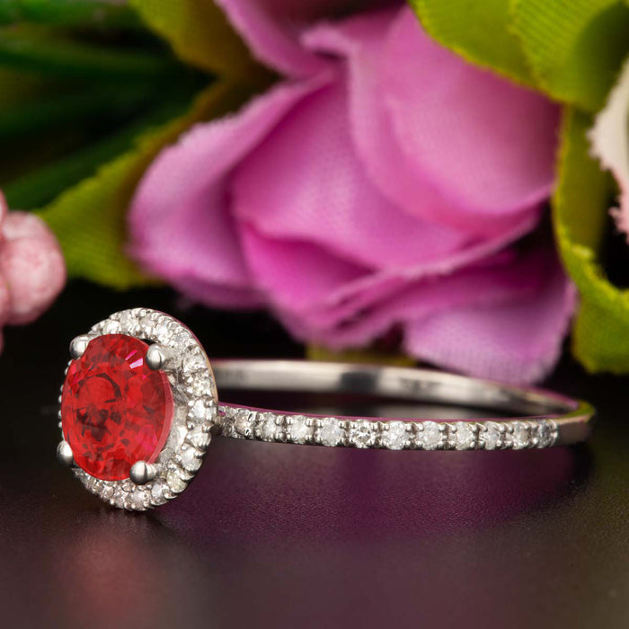 1.25 Carat Round Cut Halo Ruby and Diamond Engagement Ring in 9k White Gold