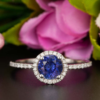 1.25 Carat Round Cut Halo Sapphire and Diamond Engagement Ring in White Gold