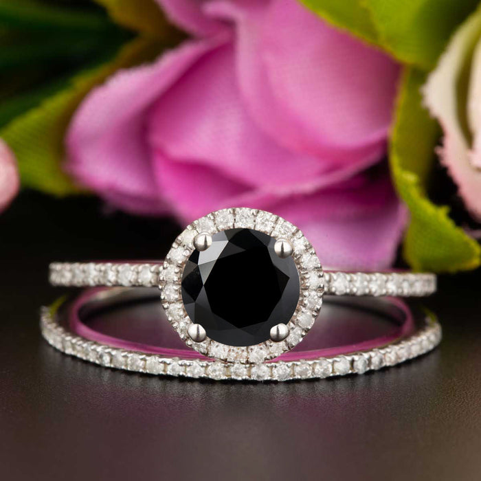 1.5 Carat Round Cut Halo Black Diamond and Diamond Wedding Ring Set in 9k White Gold
