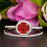 1.5 Carat Round Cut Halo Ruby and Diamond Wedding Ring Set in 9k White Gold