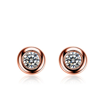 .50 Carat Round Cut Diamond Bezel Stud Earrings in Rose Gold
