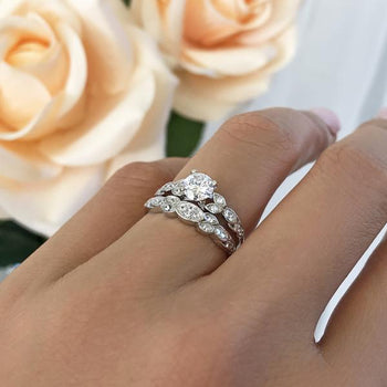 Art Deco 1 Carat Round Cut Floral Wedding Ring Set in White Gold over Sterling silver