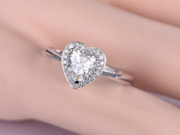 1.25 Carat Heart Shape Moissanite and Diamond Engagement Ring in White Gold