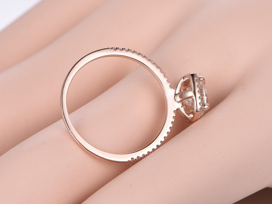 1.50 Carat Halo Cushion Cut Moissanite and Diamond Engagement Ring in Rose Gold