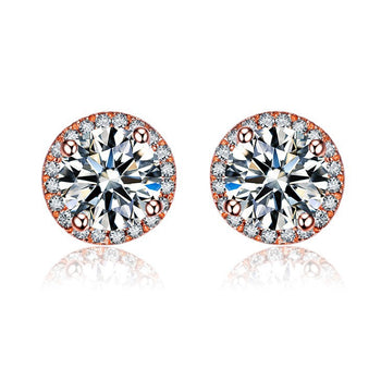 2.50 Carat Round Cut Moissanite and Diamond Halo Stud Earrings in Rose Gold