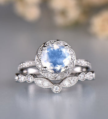Floral 2 Carat Round Cut Blue Moonstone and Diamond Art Deco Bridal Set in White Gold