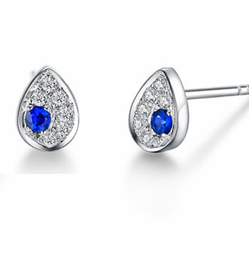Cluster .50 Carat Round Cut Sapphire and Diamond Stud Earrings in White Gold