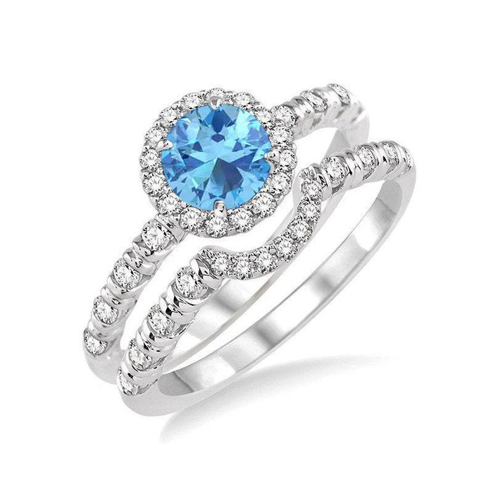 Perfect 2 Carat Round Cut Aquamarine and Diamond Halo Wedding Ring Set in White Gold