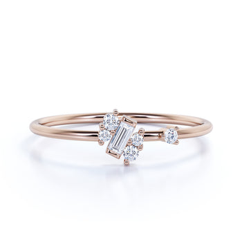 Charming Emerald and Round Cut Diamonds Stacking Ring in Rose Gold
