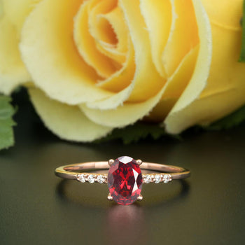 1.25 Carat Oval Cut Ruby and Diamond Engagement Ring in 9k Rose Gold Elegant Ring