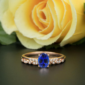 1.50 Carat Oval Cut Sapphire and Diamond Wedding Ring Set in Rose Gold Elegant Ring