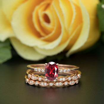 2 Carat Oval Cut Ruby and Diamond Trio Wedding Ring Set in 9k Rose Gold Elegant Ring