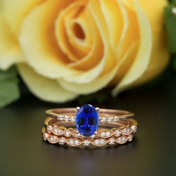 2 Carat Oval Cut Sapphire and Diamond Trio Wedding Ring Set in Rose Gold Elegant Ring